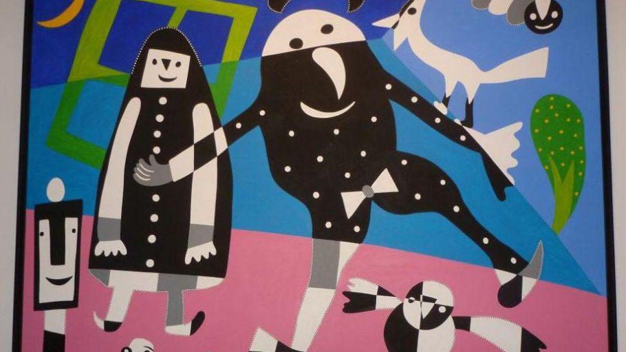 """So sieht eines der großflächigen Bilder des spanischen Künstlers Gustavo aus. Es trägt den Namen """"Minimalistische Familie und ein Fenster als Haus""""."""