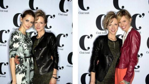 Hier posiert die Designerin mit Eva Padberg (linkes Foto) und mit Karolina Kurkova.