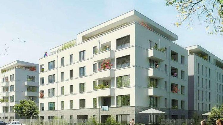 Im Modell. Insgesamt 136 Wohnungen entstehen an der Fritz-Wildung-Straße auf dem AEG-Gelände.