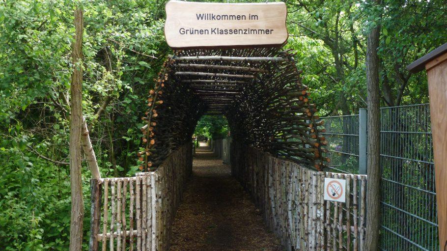 """Ein Gang mit dem Schild """"Willkommen im Grünen Klaassenzimmer"""""""