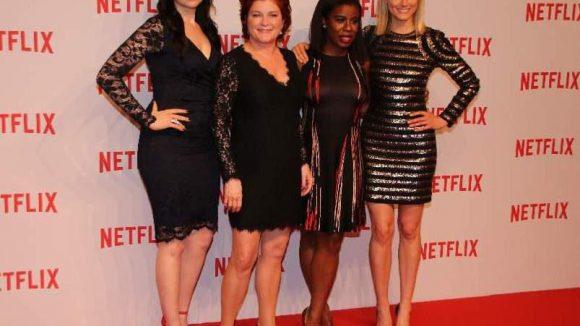 """Vier Hauptdarstellerinnen der innovativen Gefängnis-Serie """"OITNB"""": Laura Prepon, Kate Mulgrew, Uzo Aduba und Taylor Schilling (v.l.)."""
