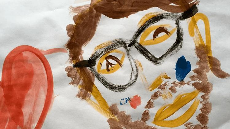 Dieses Selbstportrait von Daniel Achilles entstand in Zusammenarbeit mit seinem vierjährigen Sohn Peter.