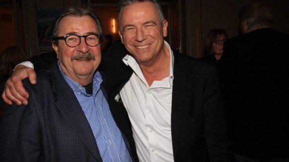 Der ehemalige Sat1-Aufnahmeleiter Lutz Winter (links) und Produzent Otto Steiner hatten schon vor der Show eine Menge Spaß.
