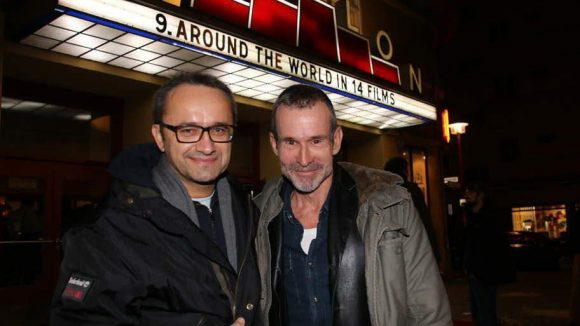 """Nicht allzu weit entfernt, im Kino Babylon, startete das Weltkinofestival """"Around the world in 14 films"""". Mit dabei: der Regisseur von """"Leviathan"""" Andrey Zvyagintsev (l., bestes Drehbuch in Cannes, jetzt im Rennen um den Auslandsoscar) mit dem sogenannten Paten des Films Ulrich Matthes (Tatort)."""