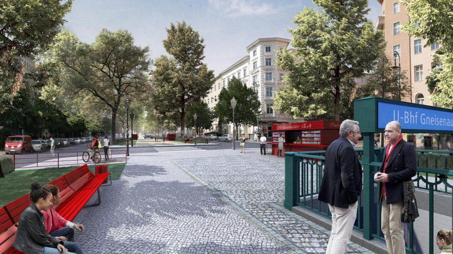 Rote Ruhezone. Bald könnten neue Bänke und einen durchgängigen Grünzug vom Südkreuz bis zum Park am Gleisdreieck die Gneisenaustraße schmücken.