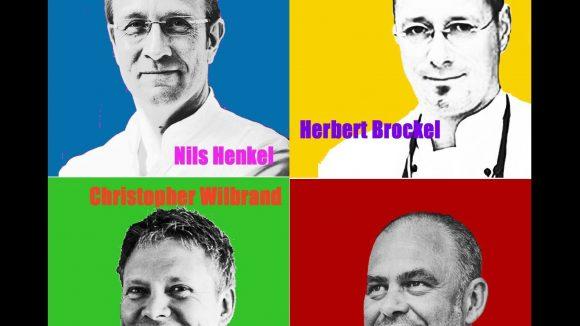 Zusammen vereinen diese vier hochkarätigen Köche fünf Michelin-Sterne. Ihr Können stellen sie am 26. Februar im Rahmen des eat! berlin Feinschmeckerfestivals im Restaurant von Markus Semmler (unten rechts) unter Beweis.