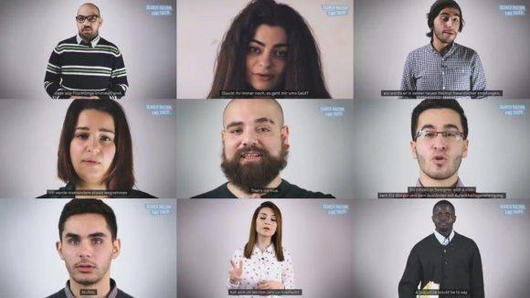 """Neun Flüchtlinge widerlegen in YouTube-Spots der Organisation """"Flüchtlinge Wilkommen"""" Voruteile vor rassistischen Videos."""