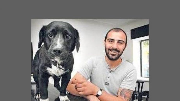 Sezer Yigitoglu, Besitzer des Cafés Ole und sein Hund, nach dem das Café benannt wurde
