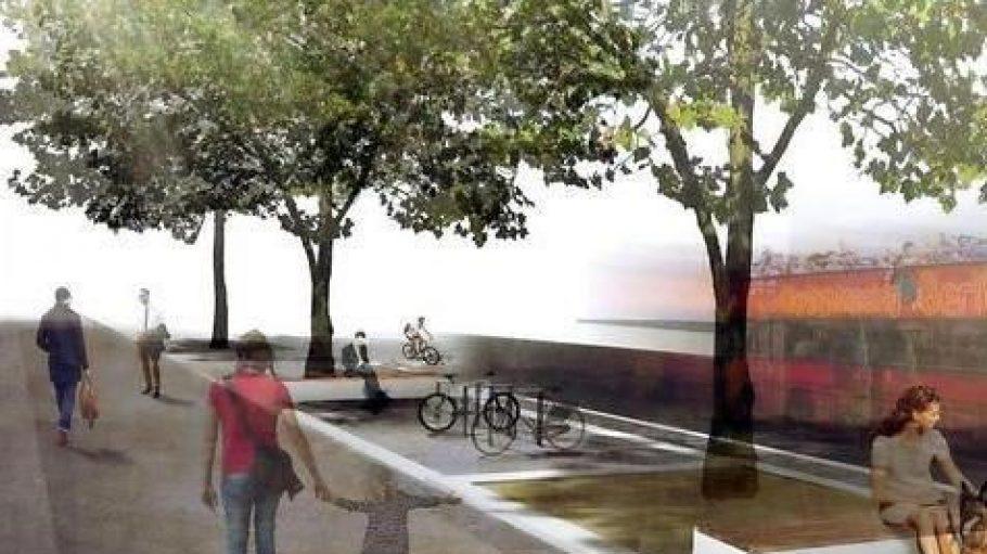 Der Gehwegbereich an der Kleiststraße wird breiter, dort kommen Bänke und Fahrradstellplatze hinzu.