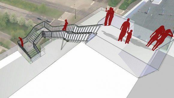 Diese Simulation zeigt, wie der Skywalk der Degewo aussehen soll.