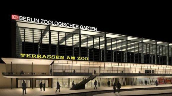 So soll der Bahnhof Zoo einmal aussehen: Gut zu erkennen sind die Terrassen am Zoo mit dem Freiluftbereich.