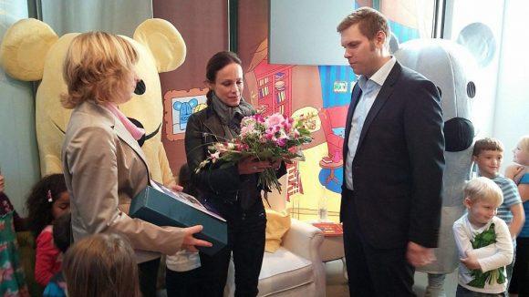 ... und für Sonja Kirchberger einen Blumenstrauß.