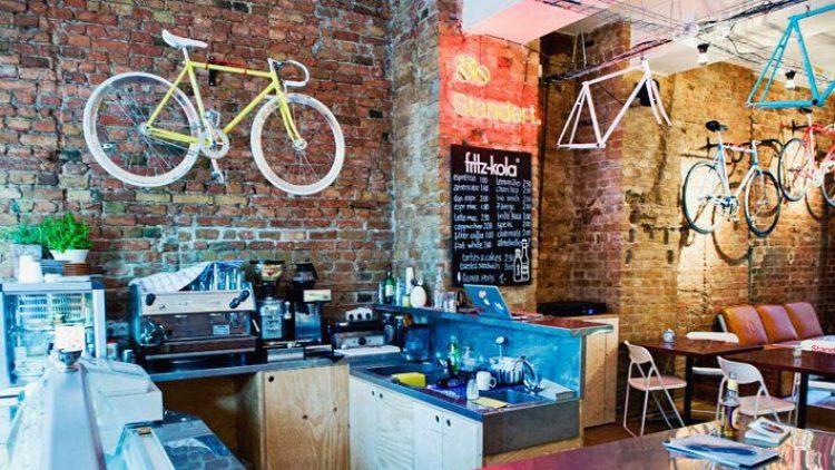 Fahrradladen, Szenetreff und Café in einem.