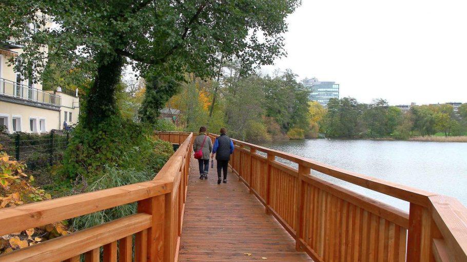 Bald kann man am Halensee nicht mehr nur spazieren gehen, sondern auch wieder ganz legal ins Wasser springen.