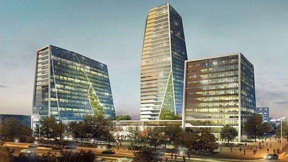 """Der Hingucker des Projekts """"The Square³"""" sind die drei Hochhäuser, die an ein Siegerpodest erinnern sollen."""