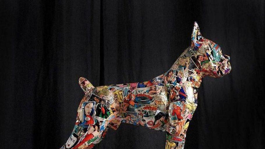 Lizzy Courage verkleidet ihre Tierskulpturen mit sehr speziellen Comics. Ab Sonntag sind sie im F95 Fashion Store am Gleisdreieck zu sehen.
