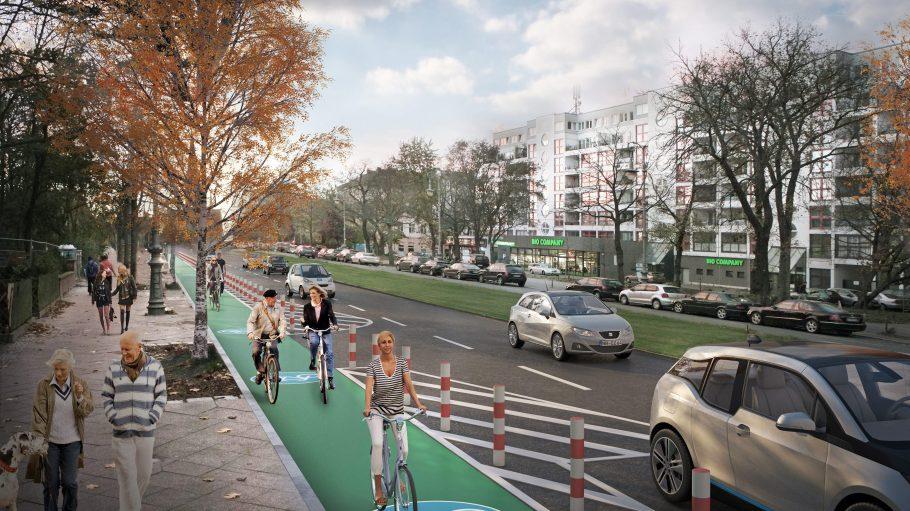 Visualisierung der Planung für die Hasenheide: Der Radweg wird nicht nur grün, es werden auch Poller aufgestellt und eine Sperrfläche zwischen Straße und Radweg soll entstehen.