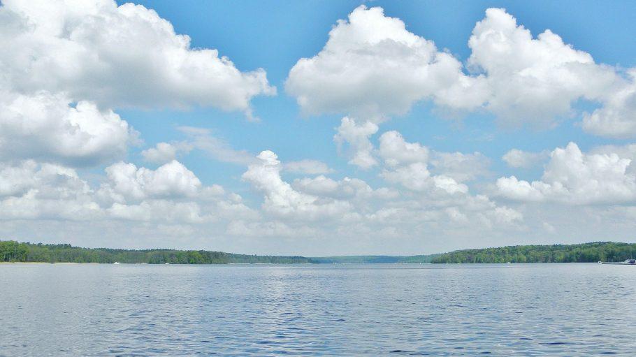Werbellinsee mit weißen Wolken am Himmel, bewaldetes Ufer in der Distanz