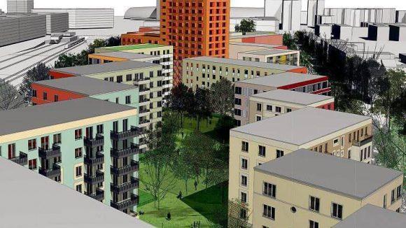 Blickrichtung Hauptbahnhof: In dem markanten Hochhaus sollen Studentwohnungen entstehen. In der niedrigeren Zeile an der Lehrter Straße rechts sind Eigentumswohnungen geplant, links entlang der Bahnlinie Mietwohnungen.