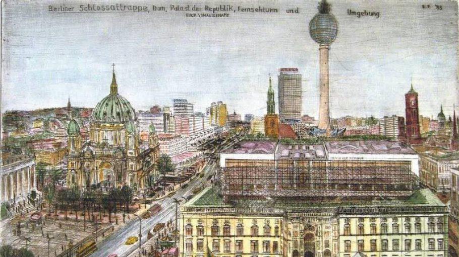Für diese Zeichnung konnte Franke einen traumhafter Blick auf den Fernsehturm genießen. Sehen kannst du sie in der Galerie Classico.