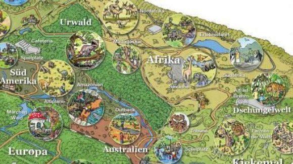 """""""Ab in die Wildnis"""" ist das Motto für den neuen, thematisch sortierten Tierpark. Wo die einzelnen Kontinente und Attraktionen untergebracht werden sollen, steht schon fest. Der Märchenwald liegt in Europa."""