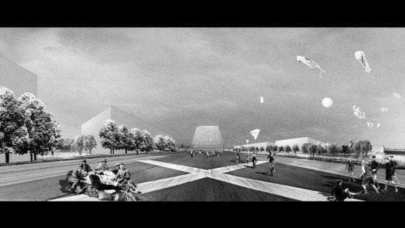 Die Wahl des Standortes fiel der Jury an diesem Entwurf besonders positiv auf. Er ermögliche eine starke visuelle und erzählerische Verbindung zum Landschaftsraum des ehemaligen Flughafens; der Bau schaffe eine klare Landmarke.