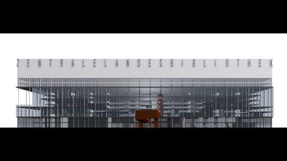 """Die Magazine der Bibliothek sitzen bei diesem Entwurf wie """"das Gedächtnis der Bibliothek auf dem Kopf des Gebäudes"""", findet die Jury. Und lobt den Blick auf Landebahn und Park sowie den schlanken Körper."""