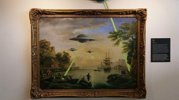 """Banksy: """"Ufo"""". Klassische Impressionisten bekommen Besuch aus der Zukunft."""