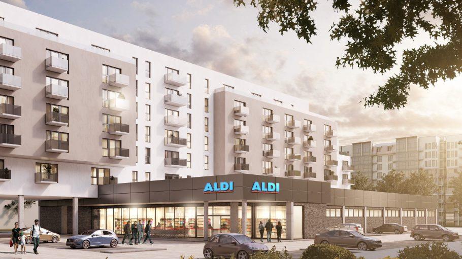 So könnte es schon ab 2019 über der Aldi-Filiale in Lichtenberg aussehen.