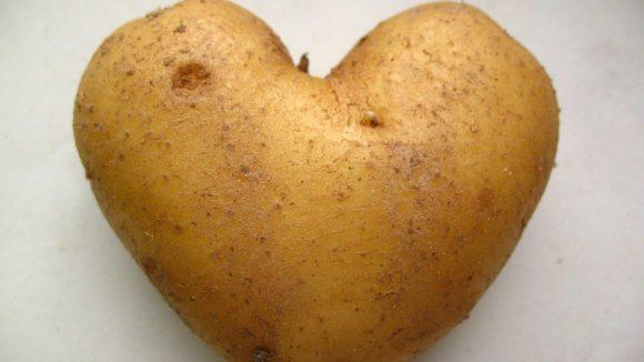 Im Culinary Misfits Café werden verformte Gemüsesorten wie diese herzförmige Kartoffel angeboten, die es normalerweise nicht vom Feld bis zum Verbraucher schaffen.