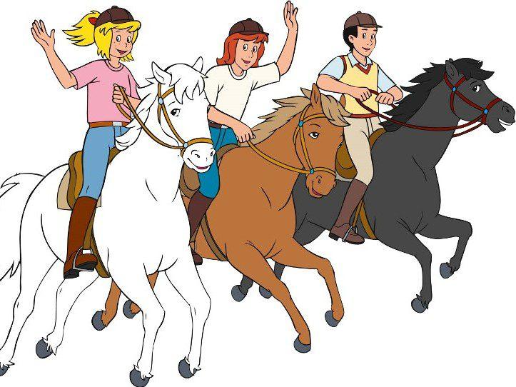 Bibi, Tina und Alexander sind als Comic auf ihren Pferden reitend zu sehen.