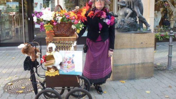 Anna Haase als Blumenfrau im Nikolaiviertel.