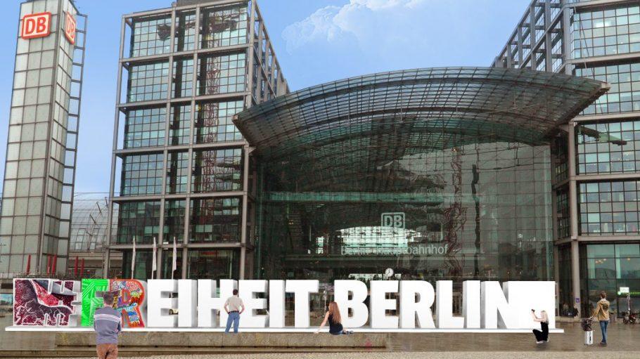 Berlins neues Denkmal für die Freiheit. Die Schrift stammt von den Graft-Architekten, das Design entwerfen verschiedene Künstler.