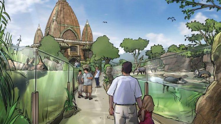 Im Zoo kann man bald zwischen den Schwimmzügen von Nashörnern und Tapiren spazieren.