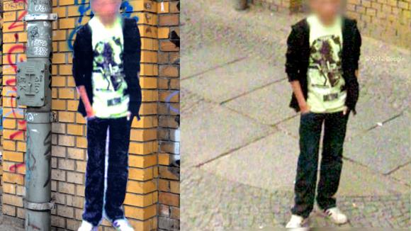 Diesmal in Mitte: Der papierne Geist in der Dircksenstraße Ecke Rochstraße. Rechts zum Vergleich: In google street view.