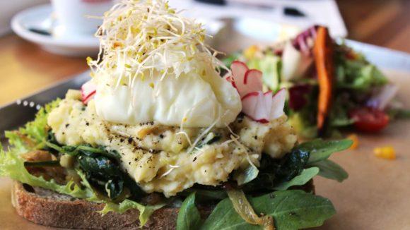 """Eine Spezialität ist das Brot """"Spinat Brandade"""" mit Spinat, porchiertem Ei und Kartoffelmus. ©QIEZ"""