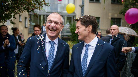 Frisch verheiratet: Der Grünen-Politiker Volker Beck und Adrian Petkov.