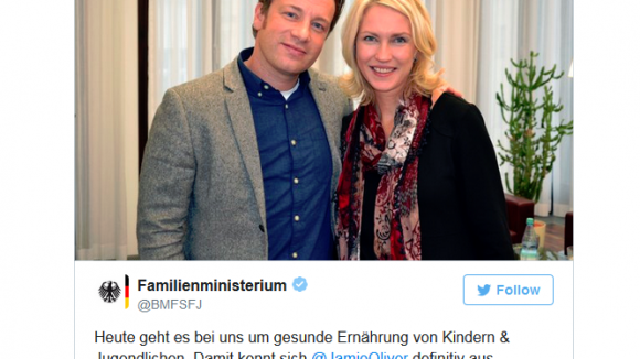 """Great conversation and a very nice Lady"", sagt Jamie Oliver über Manuela Schwesig."