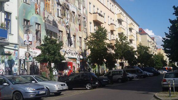 Die Rigaer Straße im Friedrichshain.