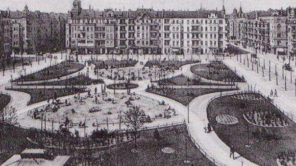 Postkarte: Boxhagener Platz im Jahr 1909