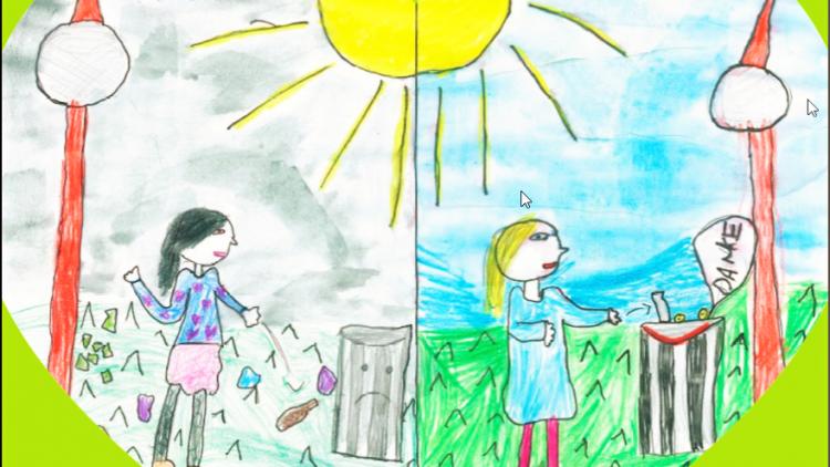 Das Siegermotiv im Plakatwettbewerb für ein schönes Berlin. Von Greta, Chloe und Yakout aus der Hunsrück-Grundschule in Kreuzberg.