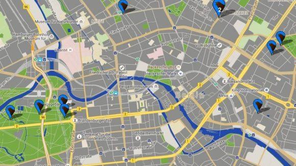 Kleine Nachtigallköpfe auf blauem Grund zeigen auf dieser Karte an, wo Berliner dem Gesang von Nachtigallen lauschen können.