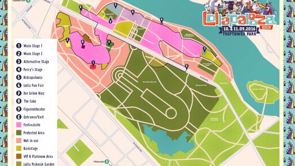 Direkt neben der Festival-Fläche (rosa) steht das sowjetische Ehrenmal (dunkelgrün). Ein Grund, warum das Lollapalooza im Treptower Park eine einmalige Angelegenheit bleiben wird.
