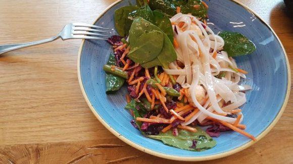 Spicy Saigon: Salat mit Mozarella, Rotkohl, Karotten, Spinat und Reisnudeln.