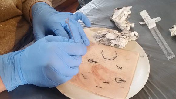 Tattoo wird auf Schweinehaut gestochen.