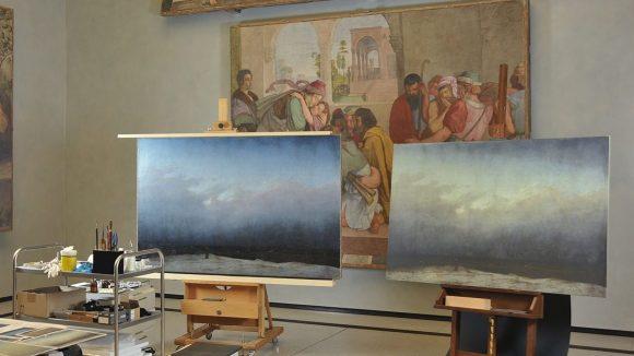 """Vorher / Nachher """"Mönch am Meer"""". (c) Staatliche Museen zu Berlin, Nationalgalerie / Andres Kilger"""