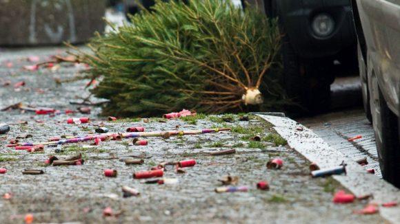 So sehen die Weihnachtsbäume dann aus, wenn sie inmitten von alten Böllern an den Straßenrändern Berlins liegen und auf ihre Abholung warten.
