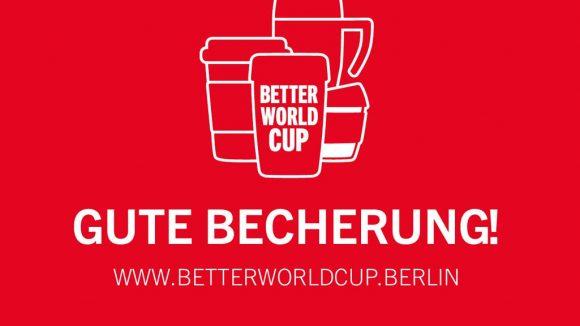 Logo und Spruch des Better World Cup auf rotem Grund.