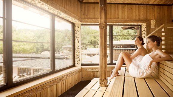 Zurücklehnen, entspannen und den Blick schweifen lassen in der Panorama-Sauna.