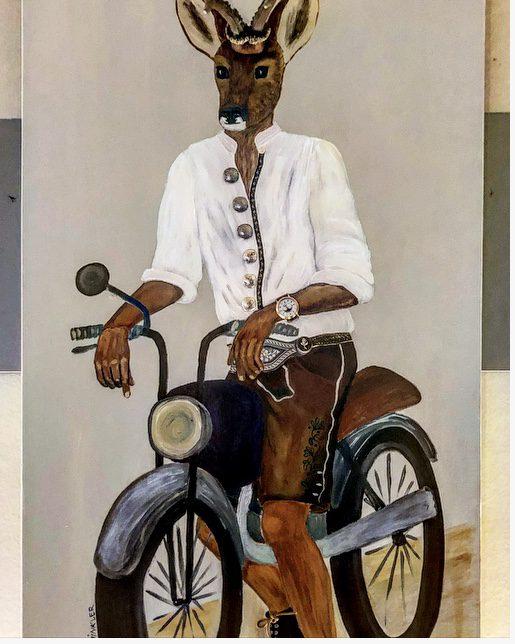 Bild, Fuchs auf Motorrad